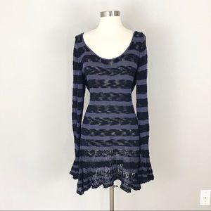 Free People Open Knit Sweater Dress Bell Cuffs